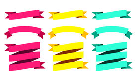 Modern Ribbons Big Set. Different Shapes. Vector  Illustration Stock Photography