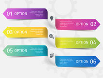 Modern ribbons for business infographics. Vector template with 6 steps, parts, options, stages. Modern ribbons for business infographics. Vector template with 6 stock illustration