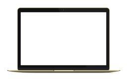 Modern rich golden ultrabook, notebook, laptop isolated. Vector illustration. Stock Image