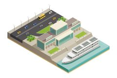 River Port Cruiser Isometric Composition. Modern river port building with luxurious holiday cruiser moored and highway on background isometric composition vector Royalty Free Stock Images