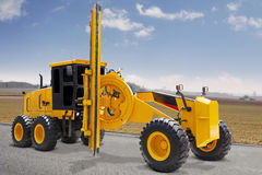Modern road grader on the road construction Royalty Free Stock Images