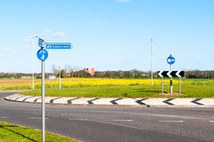 Modern road and roundabout and direction to Business Parks in ru Royalty Free Stock Photo