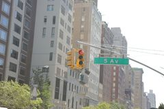 Red traffic light on the 5th avenue in new-york stock images