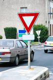 Yield Sign on road stock photo