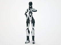 Modern robot appreciate / 3d cyborg like Stock Images