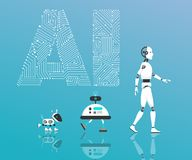 Modern Robot and artificial intelligence stock illustration