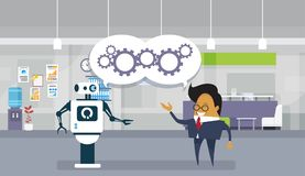 Modern Robot And Business Man Brainstorming Together Teamwork And Cooperation Concept. Flat Vector Illustration Stock Photo
