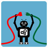 Modern robot with cable plug Stock Photos