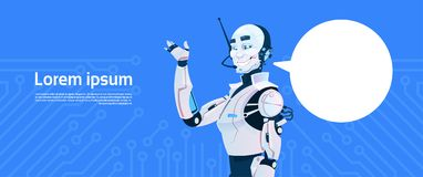Modern Robot With Chat Bubble, Futuristic Artificial Intelligence Mechanism Technology. Flat Vector Illustration Stock Images