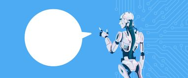 Modern Robot With Chat Bubble, Futuristic Artificial Intelligence Mechanism Technology. Flat Vector Illustration Royalty Free Stock Photography
