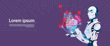 Modern Robot Coding, Futuristic Artificial Intelligence Mechanism Technology. Flat Vector Illustration Royalty Free Stock Photo