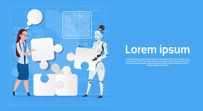 Modern Robot Coworking With Female Business Woman Making Puzzle Artificial Intelligence Technology Concept Royalty Free Stock Images