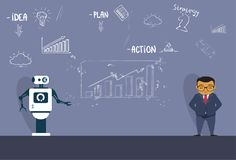 Modern Robot Explaining New Strategy To Asian Business Man During Meeting Skecth Charts Background. Flat Vector Illustration Royalty Free Stock Photos