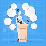 Modern Robot Female Speaker Giving Interview Stand At Podium Futuristic Artificial Intelligence Technology Concept Royalty Free Stock Photo