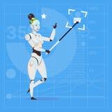 Modern Robot Female Taking Selfie Photo Futuristic Artificial Intelligence Technology Concept Stock Image