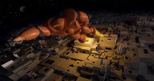 Modern robot flies over the city stock illustration