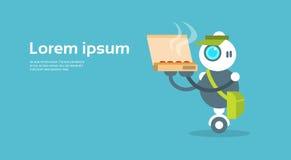 Modern Robot Food Delivery Courier Artificial Intelligence Technology Concept. Flat Vector Illustration vector illustration