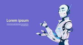 Modern Robot, Futuristic Artificial Intelligence Mechanism Technology. Flat Vector Illustration Stock Image