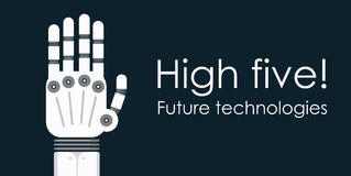 Modern robot hand palm. Flat vector background. With copy space Stock Photos