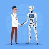 Modern Robot Handshake With Man Futuristic Artificial Intelligence Technology Concept. Flat Vector Illustration Royalty Free Stock Photos