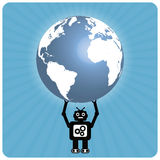 Modern robot with happy heart globe - Atlas Royalty Free Stock Photos