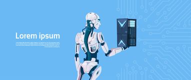 Modern Robot Hold Cloud Database Server, Futuristic Artificial Intelligence Mechanism Technology. Flat Vector Illustration Royalty Free Stock Images