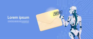 Modern Robot Hold Envelope Sending Email Message, Futuristic Artificial Intelligence Mechanism Technology. Flat Vector Illustration Royalty Free Stock Photo