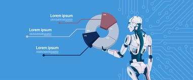 Modern Robot Hold Graphic Diagram, Futuristic Artificial Intelligence Mechanism Technology. Flat Vector Illustration Royalty Free Stock Photography