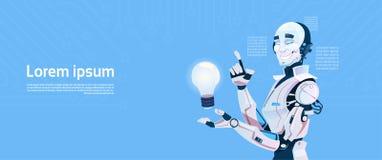 Modern Robot Hold Light Bulb, Futuristic Artificial Intelligence Mechanism Technology. Flat Vector Illustration Stock Photo