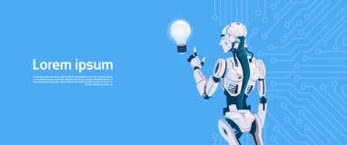Modern Robot Hold Light Bulb, Futuristic Artificial Intelligence Mechanism Technology. Flat Vector Illustration Royalty Free Stock Images