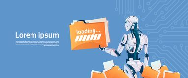 Modern Robot Hold Loading File Folder, Futuristic Artificial Intelligence Mechanism Technology. Flat Vector Illustration Royalty Free Stock Photo
