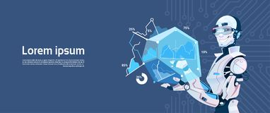 Modern Robot Hold Loading Graphic Diagram, Futuristic Artificial Intelligence Mechanism Technology. Flat Vector Illustration Royalty Free Stock Photo