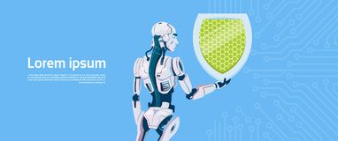 Modern Robot Hold Shield Data Protection Concept, Futuristic Artificial Intelligence Mechanism Technology. Flat Vector Illustration Stock Photo