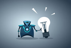 Modern Robot Holding Light Bulb Innovation New Idea Artificial Intelligence Concept Stock Photography