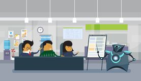 Modern Robot Holding Presentation Or Finance Report In Office, Group Of Asian Businesspeople Sitting At Desk. Brainstorming Meeting Flat Vector Illustration Royalty Free Stock Photo