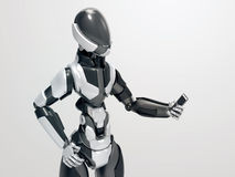 Modern robot holding smartphone / 3d cyborg looking at cellphone Royalty Free Stock Images