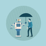 Modern Robot Holding Umbrella Over Business Man Protection Futuristic Artificial Intelligence Mechanism Technology. Flat Vector Illustration royalty free illustration