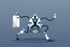 Modern Robot Housekeeping Technology Artificial Intelligence Cleaning Mechanism royalty free illustration