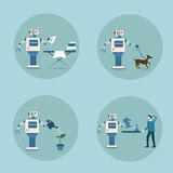 Modern Robot Icon Set Futuristic Artificial Intelligence Mechanism Housekeeping Technology Royalty Free Stock Photography