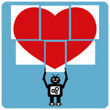 Modern robot with jigsaw happy heart Stock Photography
