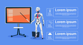 Modern Robot Leading Presentation On Digital Screen Futuristic Artificial Intelligence Technology Concept Stock Image