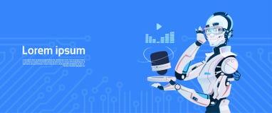 Modern Robot Listen Music Radio, Futuristic Artificial Intelligence Mechanism Technology. Flat Vector Illustration Stock Image