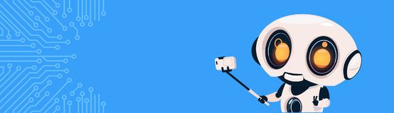 Modern Robot Make Self Portrait Photo On Smart Phone With Selfie Stick Over Circuit Background With Copy Space. Flat Vector Illustration Royalty Free Stock Images