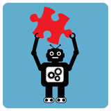Modern robot with puzzle pieces Royalty Free Stock Photos