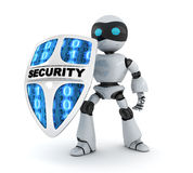 Modern robot and shield security Stock Photography
