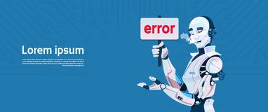 Modern Robot Show Error Message, Futuristic Artificial Intelligence Mechanism Technology. Flat Vector Illustration Royalty Free Stock Photo