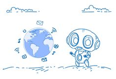 Modern robot social media icons global network communication international online connection artificial intelligence vector illustration