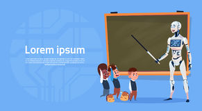 Modern Robot Teaching Kids In School Futuristic Artificial Intelligence Technology Concept Stock Images