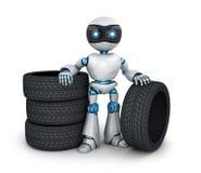 Modern robot and tire car Royalty Free Stock Photos