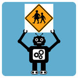 Modern robot with traffic sign Stock Images
